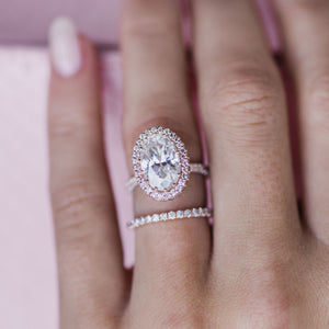 SHILOH 4.7 Carat (12x8mm) Skinny Crushed Ice Oval Moissanite Engagement Ring With Micropavé Pink Diamond Halo in 14k Rose Gold