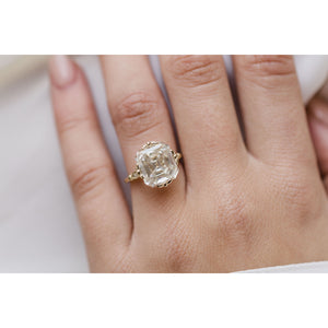 HARLOW 6.5 Carat (11x10mm) Old Mine Asscher Cut Moissanite Vintage Inspired NSEW Triple-Split Prong Engagement Ring in 14K Yellow Gold