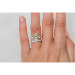 CAMILLA 5.9 CTW (4.9 Carat Center) Three Stone Ring With Canary Yellow Radiant and Trillions Moissanite Engagement Ring In 2-Tone Setting
