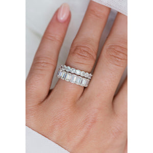 CELINE 3.5 CTW 12-Stone Emerald Cut Moissanite Eternity Wedding Band in 14K White Gold With Claw Prongs