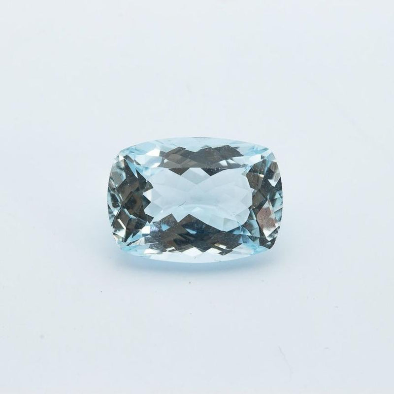 6.1 Carat (12x9mm) Saturated Blue Elongated Cushion Cut Aquamarine Loose Stone For Engagement Ring