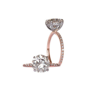SUTTON 2.5 Carat (8.5mm) Colorless Round Brilliant Moissanite Engagement Ring With Pave Setting in Two-Tone 14K White and Rose Gold