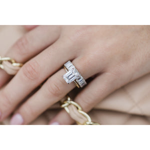 HARPER 3 Carat (9.5x7mm) Elongated Emerald Cut Moissanite Solitaire Engagement Ring In Two-Tone 14k White and Yellow Gold