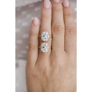TATUM 7 Carat (12x10mm) Elongated Antique Cushion Moissanite Solitaire Engagement Ring In 18k Yellow Gold Setting