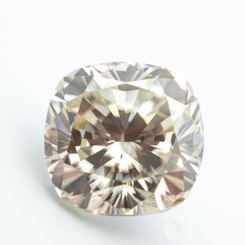 4 Carat (9.4mm) Fancy Pale Canary Crushed Ice Cushion Hybrid Cut Moissanite Loose Stone