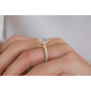 LEIGHTON 3.2 Carat (10x8mm) Crushed Ice Elongated Moissanite Pavé Engagement Ring with Invisible Halo in 14K Yellow Gold