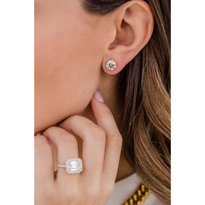 HARPER STUDS 2 Carat Per Earring (8mm) Pale Canary Old Euro Moissanite With Claw Prong Stud Earring in 14K Yellow Gold (4 CTW) - In Stock!