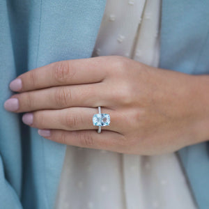ROWAN 6 Carat (12.5x9mm) Elongated Cushion Aquamarine Engagement Ring with Triple Micropave and Invisible Halo Setting in 14K White Gold