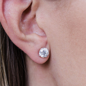 HARPER STUDS 1.5 Carat Per Earring (7.5mm) Round Moissanite With Claw Prong Stud Earring in 14K White Gold (3 CTW)