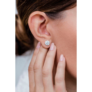 HARPER STUDS 2 Carat Per Earring (8mm) Round Moissanite With Claw Prong Stud Earring in 14K White Gold (4 CTW)