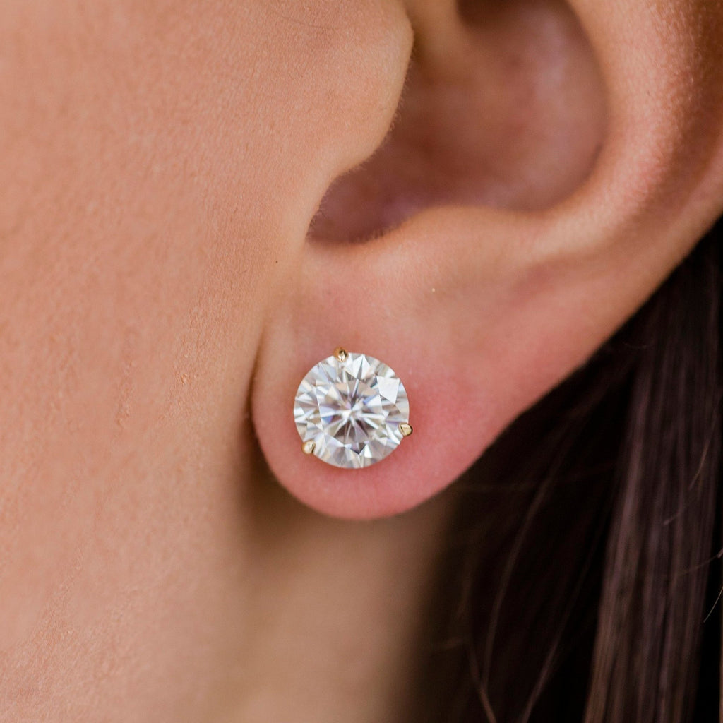 HARPER STUDS 2.5 Carat Per Earring (8.5mm) Round Moissanite Martini Stud Earring in 14K Yellow Gold (5 CTW) - In Stock!