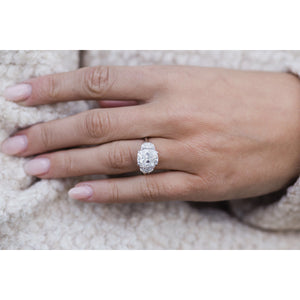 CAMILLA 6 CTW (4.1 Carat Center) Three Stone Ring With Elongated Antique Cushion and Half Moons Moissanite Engagement Ring In 14k White Gold