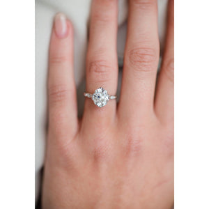 HARLOW 2.5 Carat (8.5x7.5mm) Old Mine Cut Moissanite Vintage Inspired NSEW Triple-Split Prong Engagement Ring in White 14K Gold Setting
