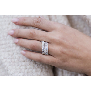 EMALIA 4.5 CTW 15-Stone Elongated Asscher Cut French Pave Moissanite Eternity Wedding Band in 14K White Gold