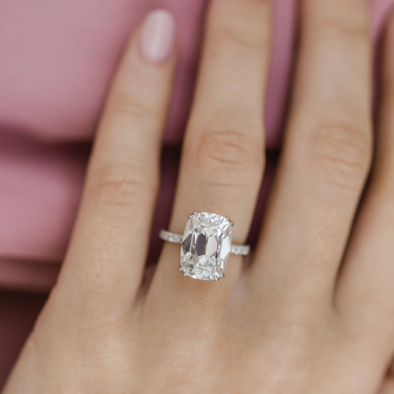LEVINE 8 Carat (13x9.5mm) Elongated Old Mine Cushion Moissanite Engagement Ring with Invisible Halo and Dainty Pave Setting in 14K White