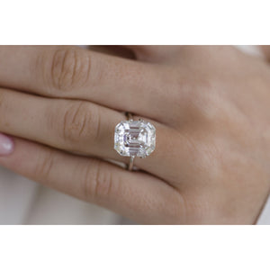 8.15 Carat (12.5x10.5mm) Vintage Inspired Elongated Old Mine Asscher Cut Moissanite Loose Stone with Windmills