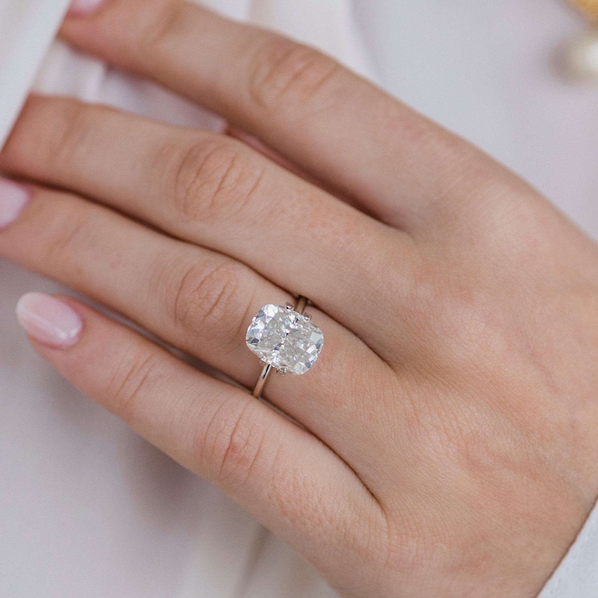 5 Carat Modern White Elongated Crushed Ice Cushion Cut
