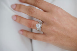 SUTTON 3 Carat (9mm) Round Brilliant Moissanite Engagement Ring With Completely Pave Setting and Invisible Halo in 14K White Gold