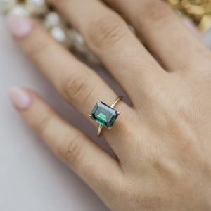 HARPER 3 Carat (9.75x7.5mm) Elongated Emerald Green Emerald Cut Moissanite Solitaire Engagement Ring In 14k Yellow Gold