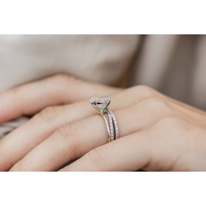 HARPER 2.9 Carat (10.5x7mm) Skinny Crushed Ice Oval Moissanite Solitaire Engagement Ring In 14k White Gold