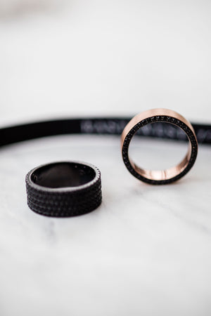 JAMES 6.5mm Wide Brushed Finish Mens Wedding Band With Black Spinel and Rhodium Side Detail in 14K Rose Gold