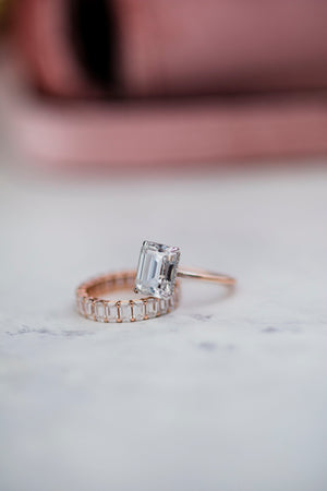 HARPER 3.8 Carat (10.25x7.7mm) Elongated Emerald Cut Moissanite Solitaire Engagement Ring with Wrap Invisible Halo In Two-Tone Setting