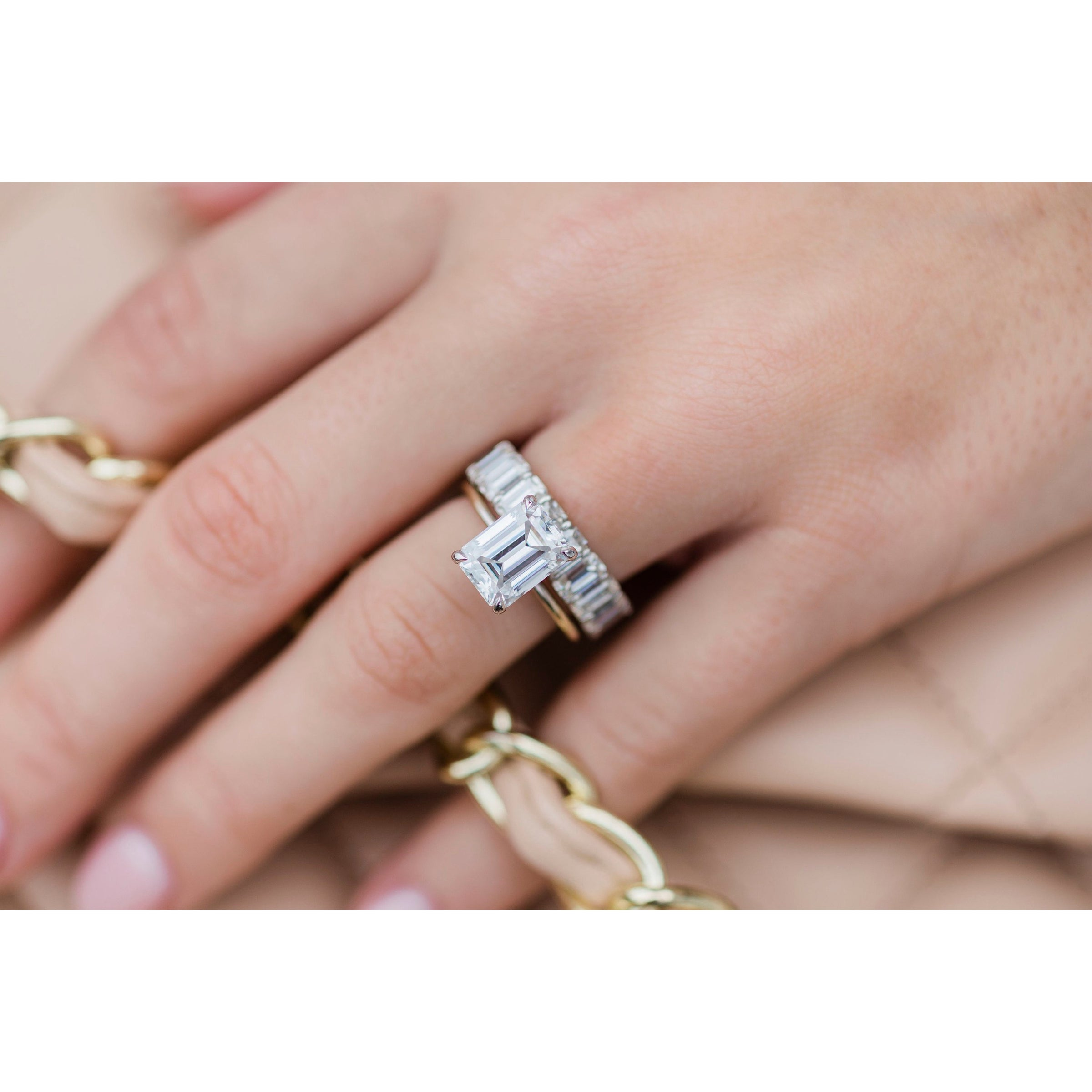It is just a photo of The Celine Full Eternity (45x45mm) Emerald Cut Band