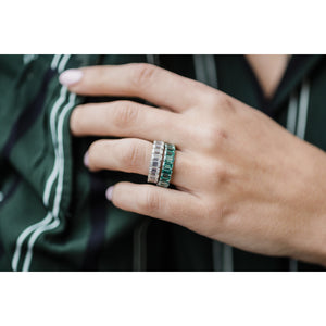 CELINE 3.5 CTW Full Eternity Fancy Emerald Greeen Emerald Cut Moissanite Eternity Wedding Band in 14K White Gold With Claw Prongs