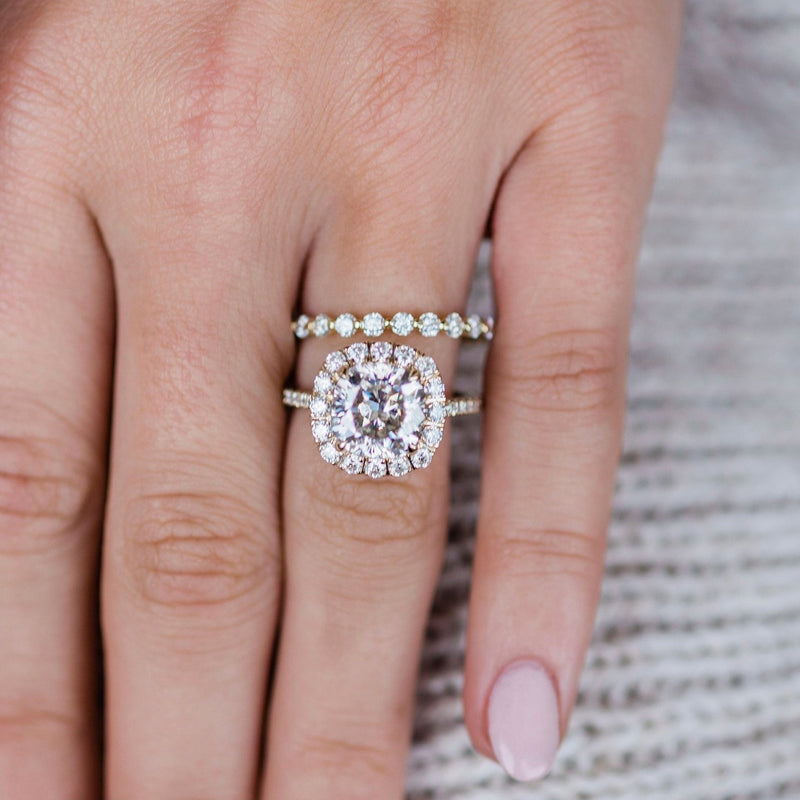 PEARLA 4 Carat Center 9mm Crushed Ice Hybrid Cushion Cut Moissanite Engagement Ring with Cluster Halo in 14K Yellow Gold (5.75 CTW)