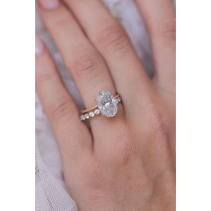 HARPER 4.7 Carat (12x8mm) Skinny Crushed Ice Oval Moissanite Solitaire Engagement Ring In Two-Tone 14k White and Yellow Gold Setting