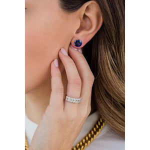HARPER STUDS 3.5 Carat Per Earring (9.5mm) Round Lab Created Blue Sapphire With Claw Prong Stud Earring in 14K White Gold (7 CTW) - In Stock