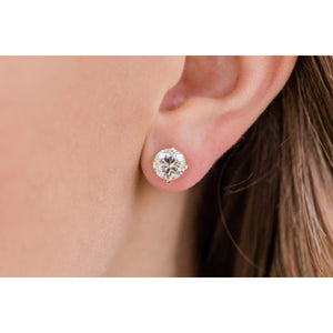 HARPER STUDS 2 Carat Per Earring (8mm) Round Moissanite With Claw Prong Stud Earring in 14K Yellow Gold (4 CTW)