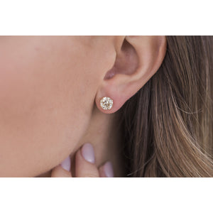 HARPER STUDS 1.5 Carat Per Earring (7.5mm) Light Canary Round Moissanite With Claw Prong Stud Earring in 14K Yellow Gold (3 CTW) - In Stock!