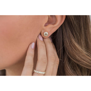 HARPER STUDS 1.5 Carat Per Earring (7.5mm) Canary Old Euro Moissanite With Claw Prong Stud Earring in 14K Yellow Gold (3 CTW) - in stock!