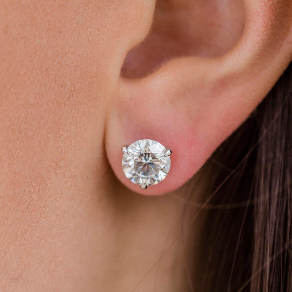 HARPER STUDS 2.5 Carat Per Earring (8.5mm) Round Moissanite With Martini Stud Earring in 14K White Gold (5 CTW) - In Stock!