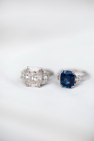CAMILLA 4 CTW (3.2 Carat Center) Three Stone Ring With Blue Lab-Created Sapphire Cushion and Moissanite Half Moons Engagement Ring