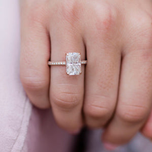 ROWAN 3.55 Carat (10.5x7mm) Elongated Crushed Ice Radiant Moissanite Engagement Ring with Invisible Halo in 14K Rose Gold