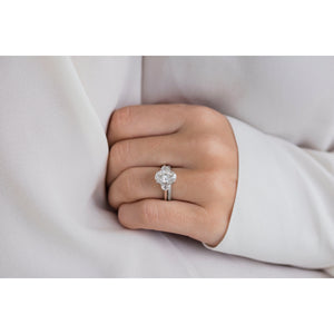 CAMILLA 2.9 Carat (10.5x7mm) Skinny Crushed Ice Oval Moissanite Three Stone Engagement Ring With Half Moons In 14k White Gold