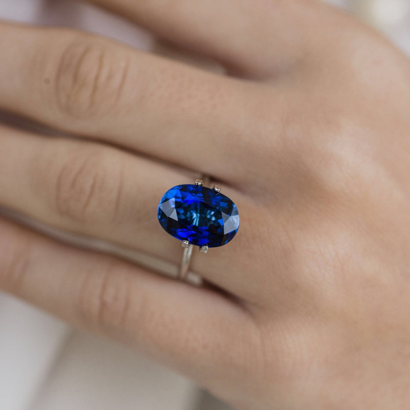 9 Carat (14x10mm) Saturated Lab Created Blue Sapphire Oval Cut Loose Stone - IN STOCK!