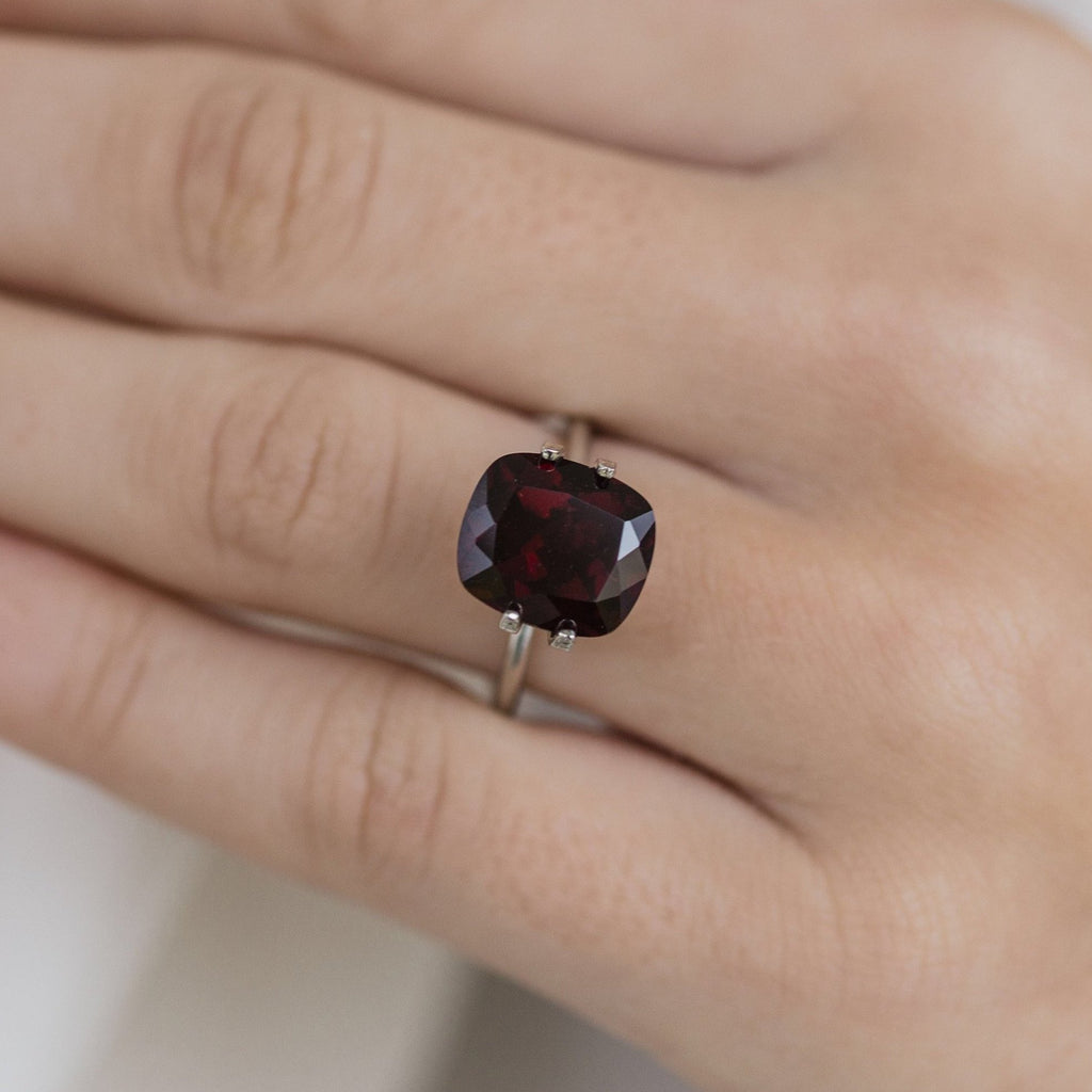 5.7 Carat (11x10mm) Slightly Elongated Cushion Cut Dark Red Natural Garnet Loose Stone - IN STOCK!
