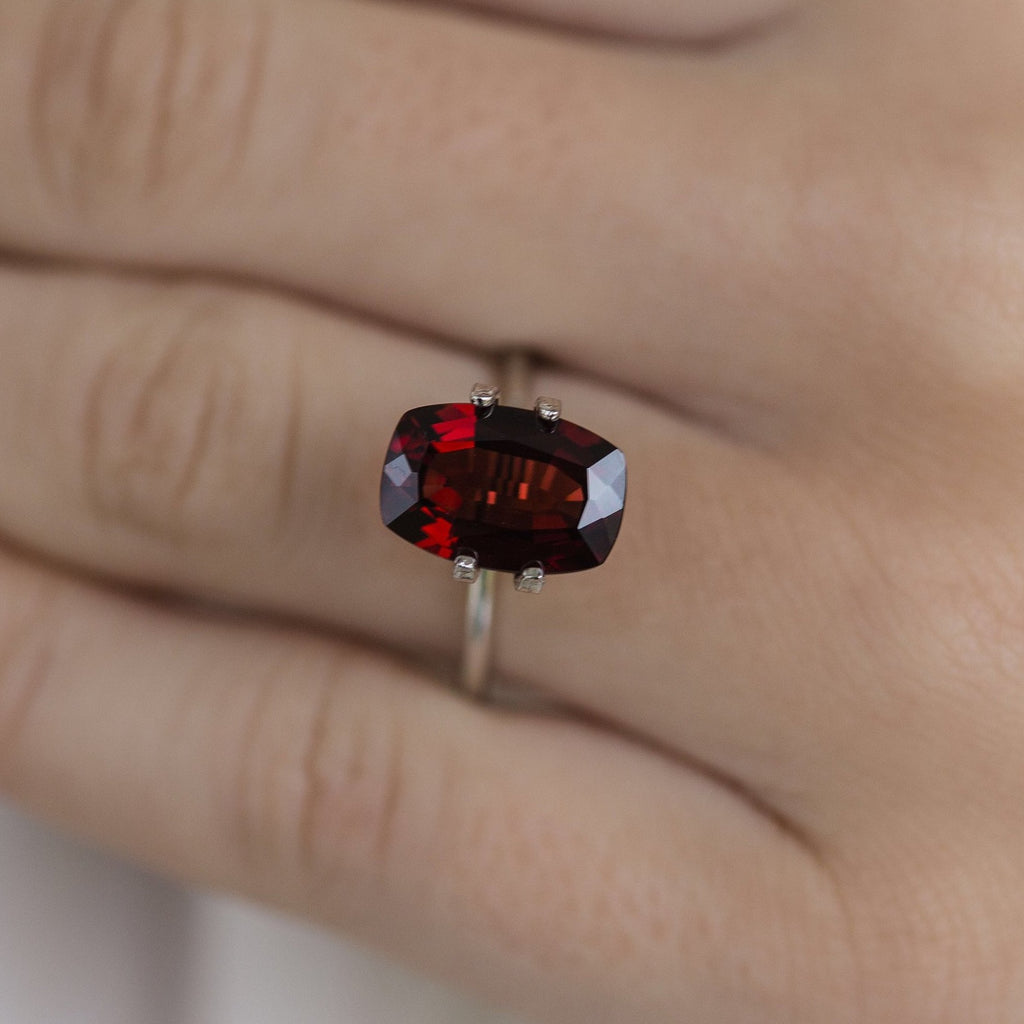 5 Carat (12x8mm) Elongated Cushion Cut Deep  Garnet Loose Stone - IN STOCK!