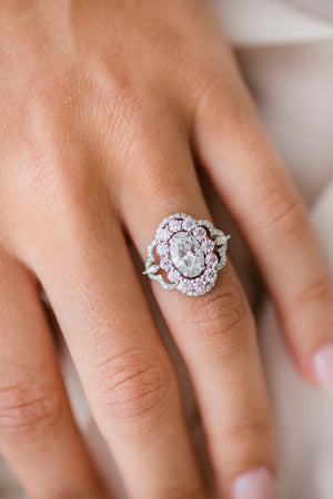 CLARA 1.85 Carat (9x6mm)  Crushed Ice Oval Moissanite Cluster Engagement Ring In 14k White Gold