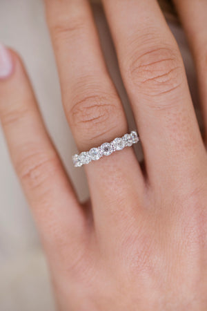 MILLY FULL ETERNITY (3.5mm) Old European Round Cut Vintage Inspired Moissanite Shared Prong Eternity Wedding Band in 14K White Gold