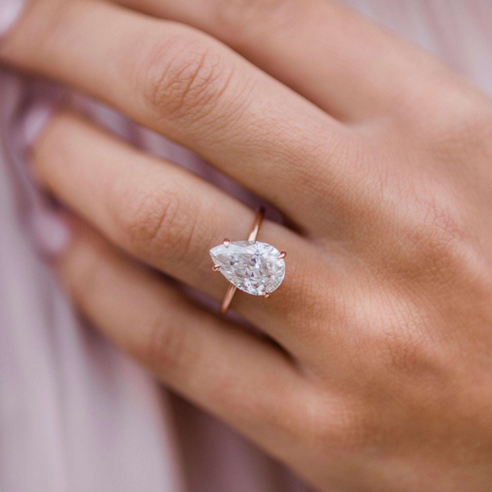 Solitaire Pear Cut Engagement Rings NEW Details about  /3 Ct  Moissanite Ring Pear Shape Rings