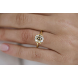 2.8 Carat (9x8mm) Fancy Light Canary Old Mine Cushion Cut Moissanite Loose Stone with Long, Rounded Cutlet - IN STOCK!