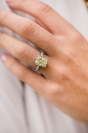 SERENA 4.5 Carat (10.5x8.5mm) Fancy Canary Yellow Crushed Ice Radiant Moissanite Engagement Ring With Pavé Setting in Two-Tone