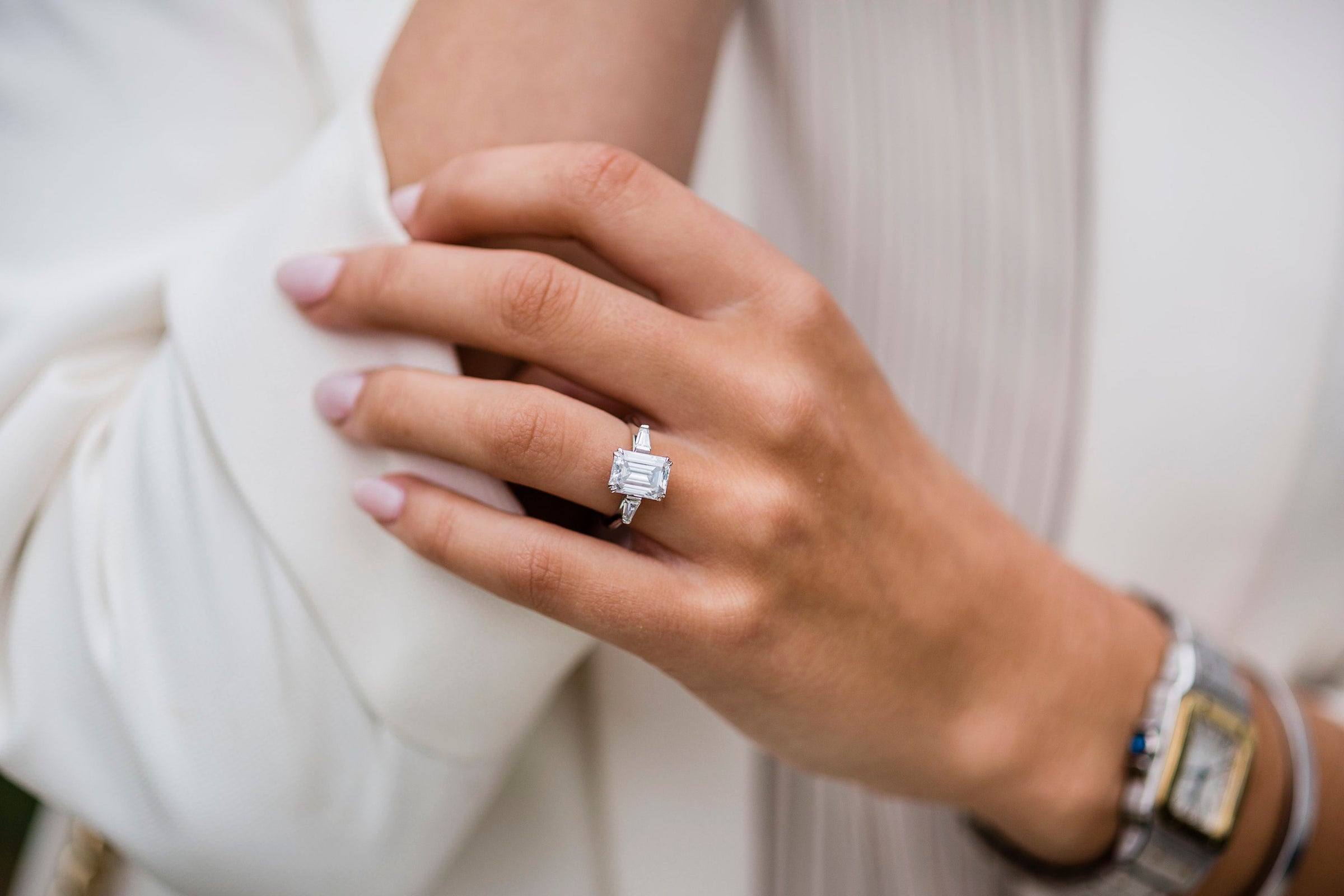 cushion cut with baguettes