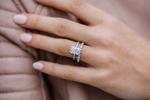 SUTTON 2.7 Carat (9.25x6.75mm) Crushed Ice Hybrid Moissanite Engagement Ring With Pave Setting and Invisible Halo in 14K White Gold