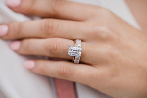 CELINE HALF ETERNITY (4x2.5mm) Emerald Cut Moissanite Eternity Wedding Band in 14K Rose Gold With Claw Prongs