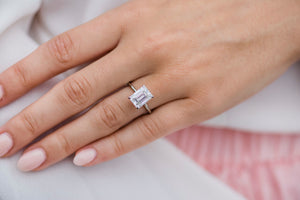HARPER 3 Carat (9.5x7mm) Elongated Emerald Cut Moissanite Solitaire Engagement Ring in Platinum Setting